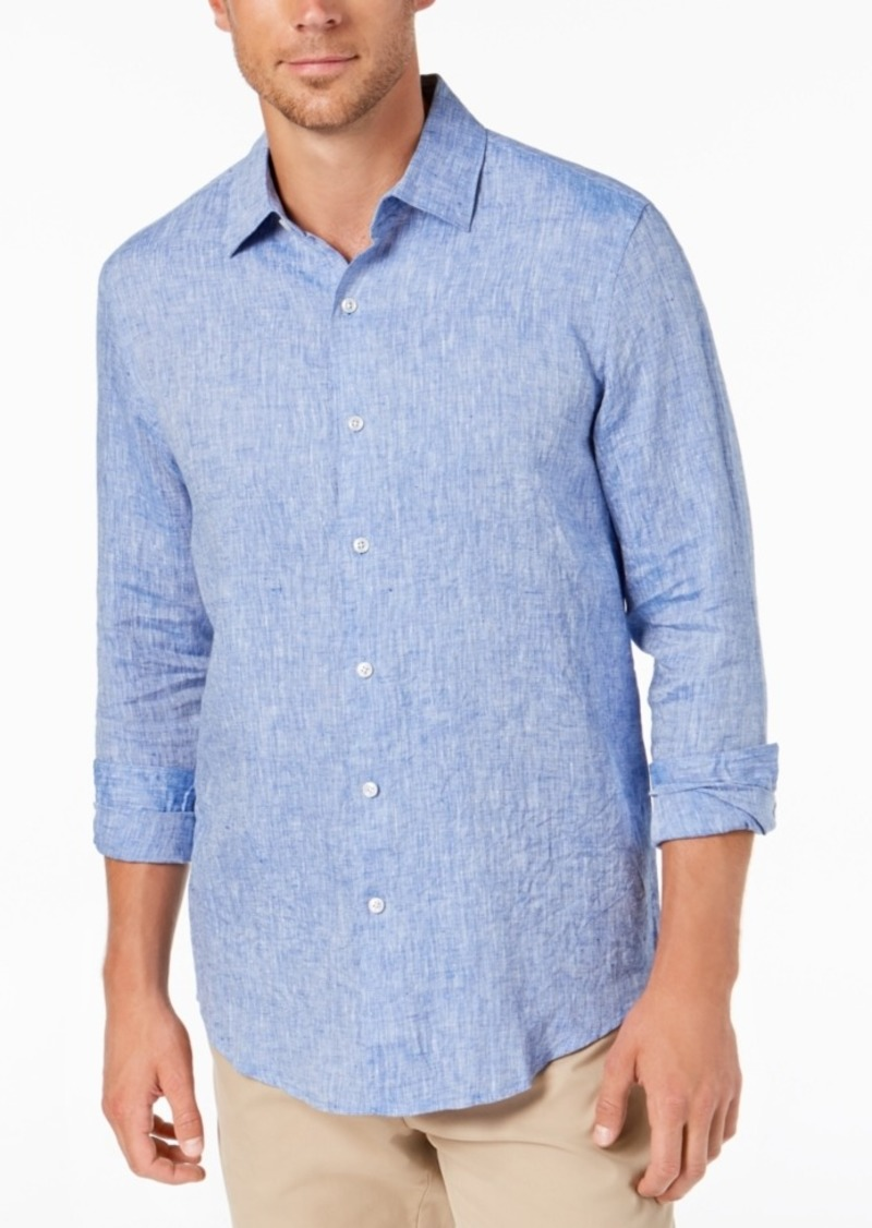 Tasso Elba Men's Long Sleeve Linen Shirt, Created for Macy's