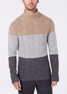 Tasso Elba Men's Lux Colorblocked Turtleneck Sweater, Created for Macy's