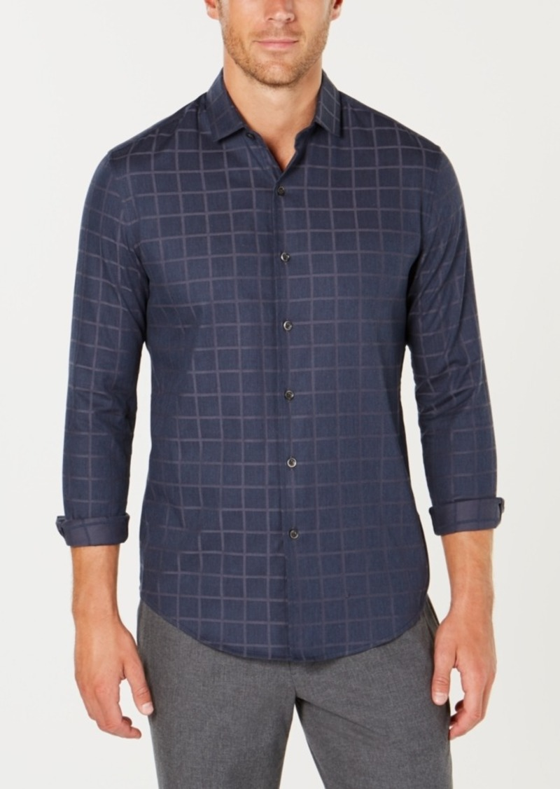 Tasso Elba Men's Lux Lounge Windowpane Shirt, Created for Macy's