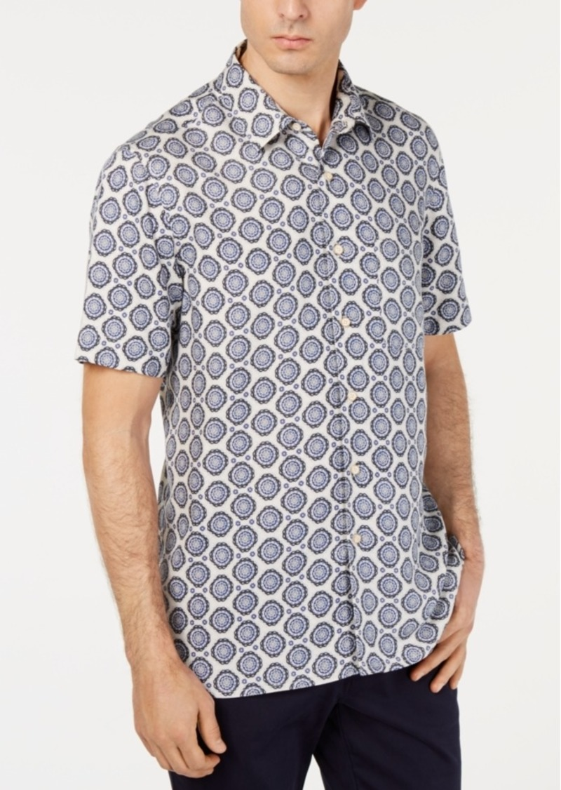 Tasso Elba Men's Medallion Graphic Silk Blend Shirt