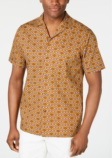 Tasso Elba Men's Medallion-Print Camp Collar Silk Shirt, Created for Macy's