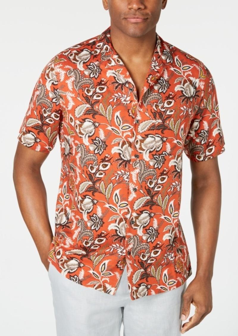 Tasso Elba Men's Floral-Print Camp Collar Silk Shirt, Created for Macy's