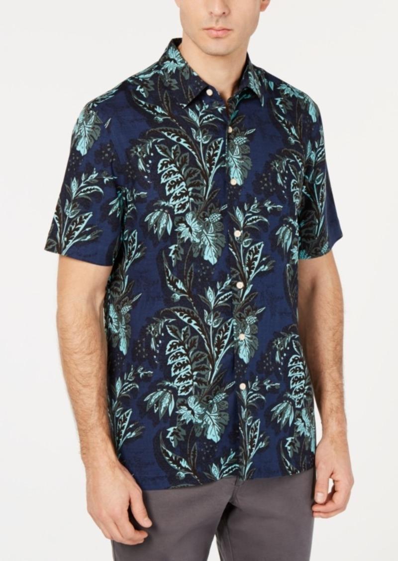 Tasso Elba Men's Orologio Floral Graphic Silk Blend Shirt