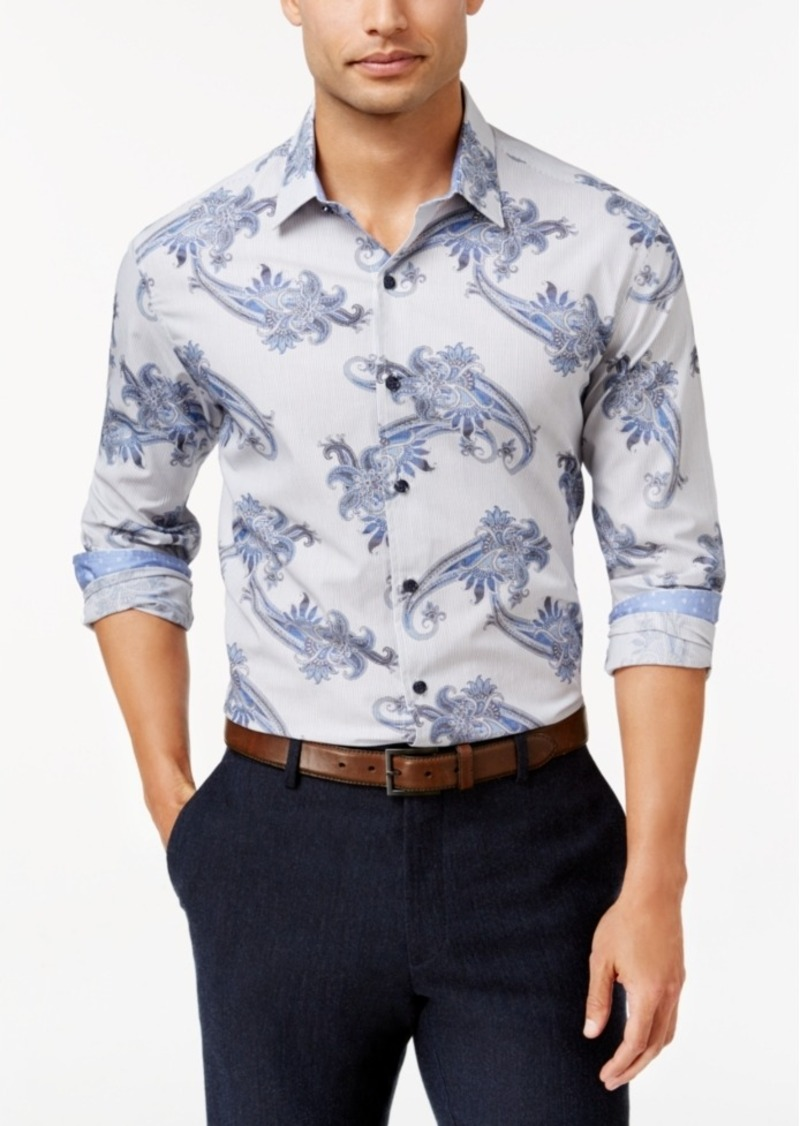Tasso Elba Men's Paisley Long-Sleeve Classic-Fit Shirt, Created for Macy's