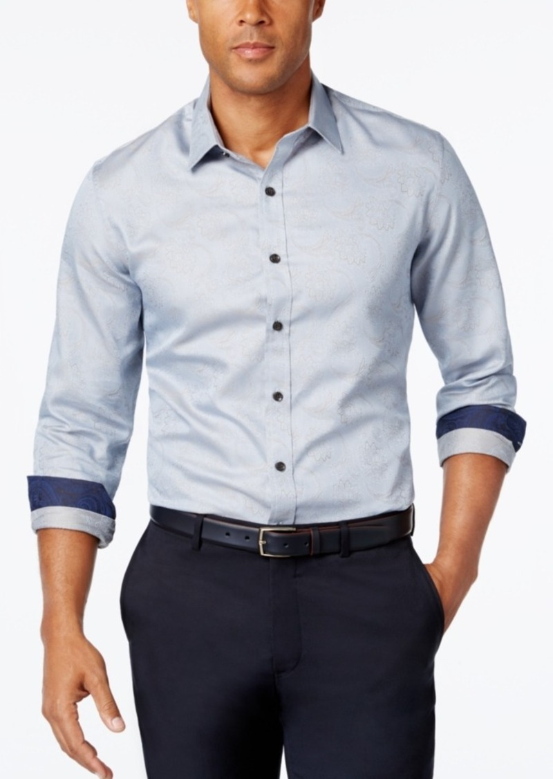 Tasso Elba Men's Big and Tall Pattern Long-Sleeve Shirt