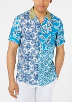 Tasso Elba Men's Paisley Medallion-Print Camp Collar Silk Shirt, Created for Macy's