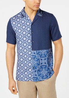 Tasso Elba Men's Patchwork Medallion-Print Camp Collar Silk Shirt, Created for Macy's