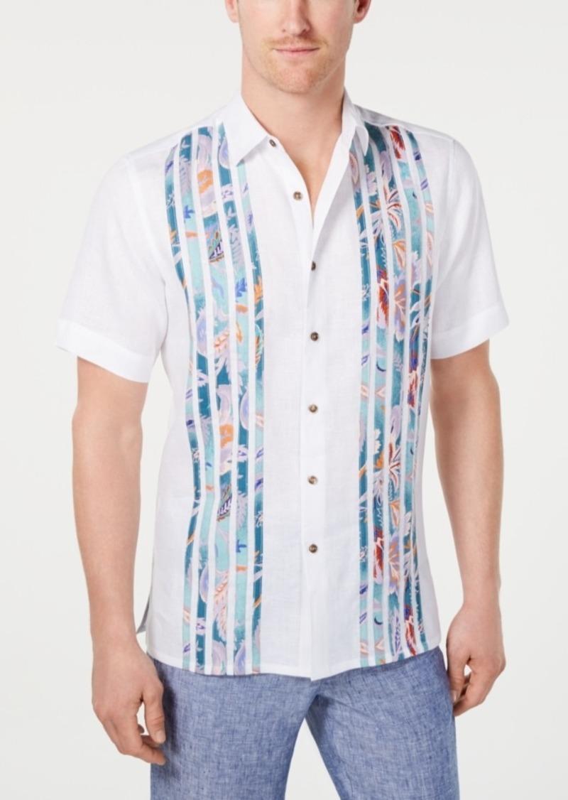 Tasso Elba Men's Pieced Paisley-Stripe Linen Shirt, Created for Macy's