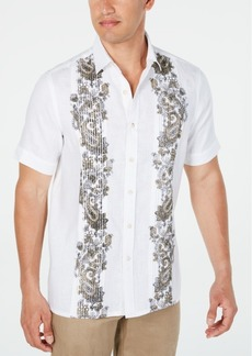 Tasso Elba Men's Pintucked Paisley Panel Linen Shirt, Created for Macy's