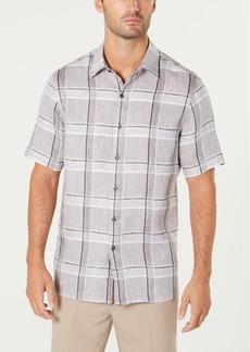 Tasso Elba Men's Plaid Linen Shirt, Created for Macy's