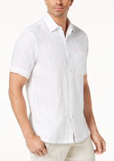 Tasso Elba Men's Plaid Linen Shirt, Created for Macy's