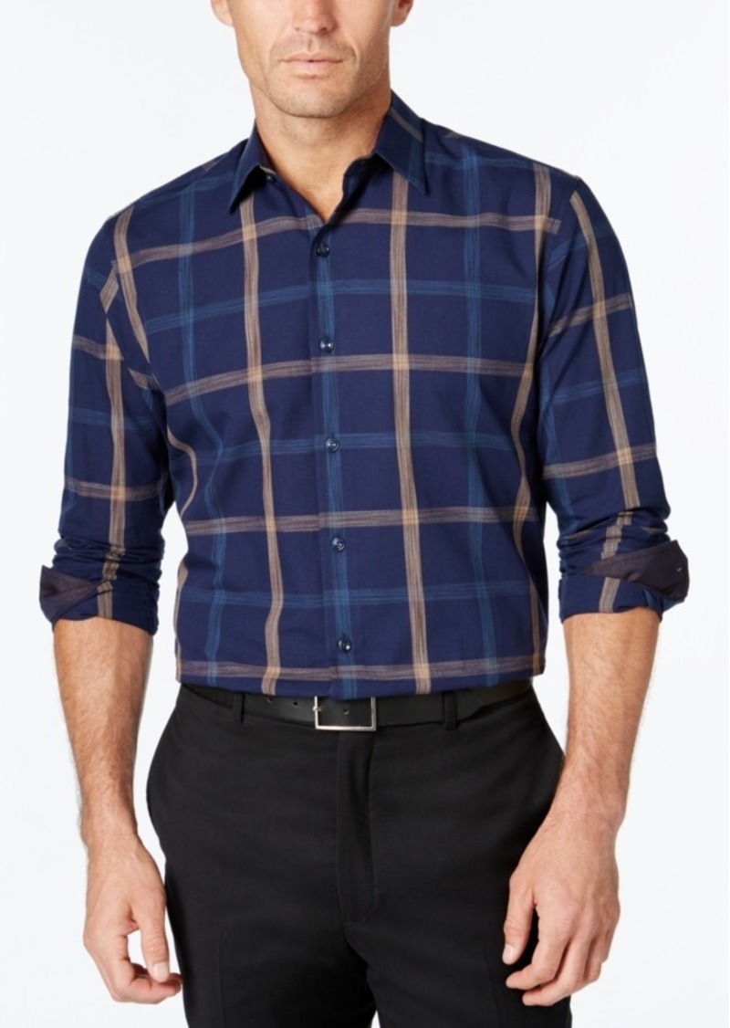 Tasso Elba Men's Big and Tall Plaid Long-Sleeve Shirt, Classic Fit