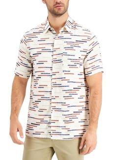 Tasso Elba Men's Regular-Fit Broken Stripe Shirt, Created for Macy's