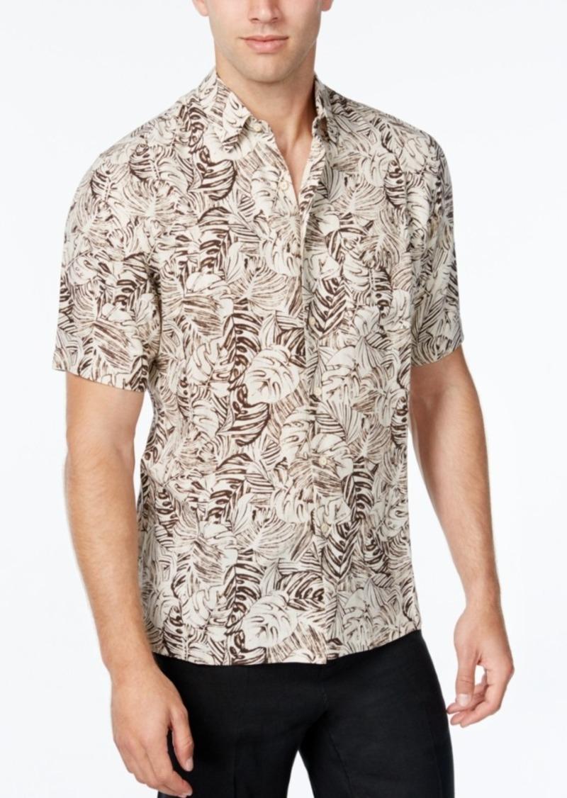 Tasso Elba Men's Silk Linen Leaf-Print Short-Sleeve Classic-Fit Shirt, Only at Macy's