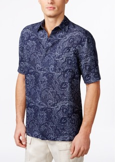 Tasso Elba Men's Linen Paisley Short-Sleeve Shirt, Created for Macy's