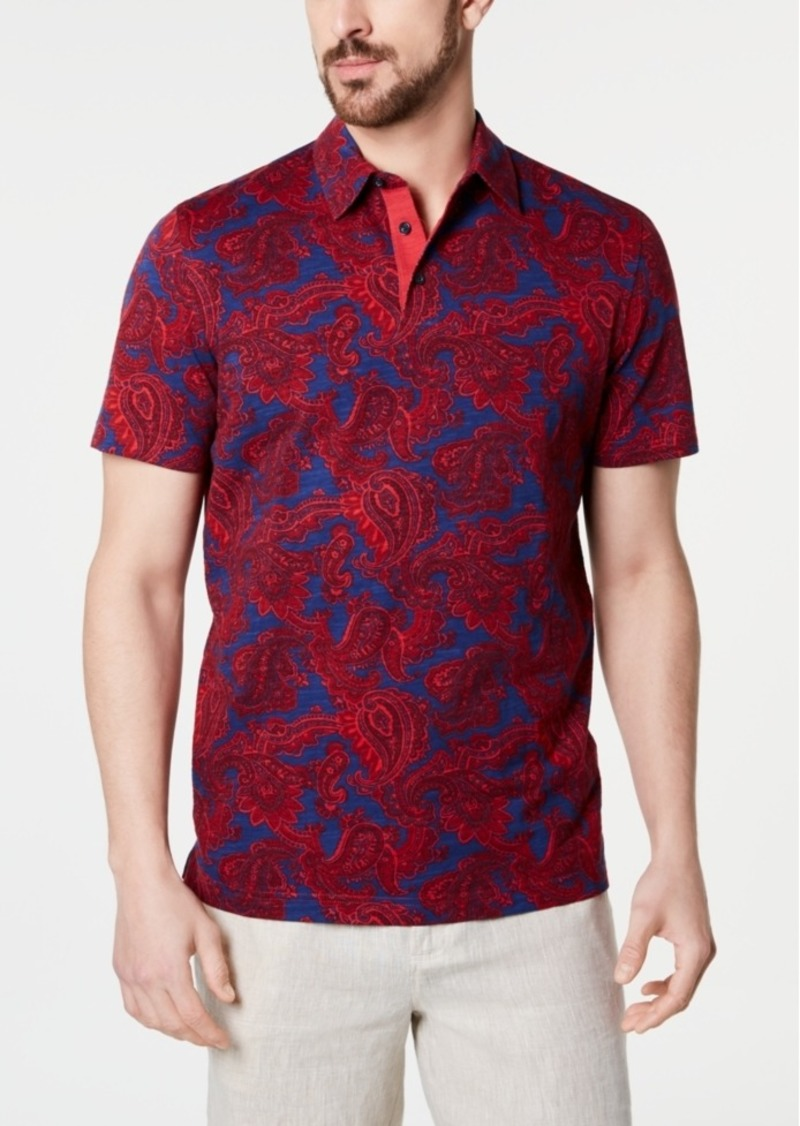Tasso Elba Men's Slub Paisley Polo, Created for Macy's