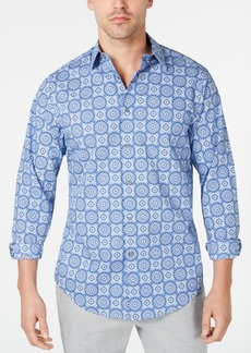 Tasso Elba Men's Stretch Geo Medallion-Print Shirt, Created for Macy's