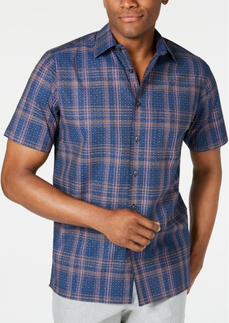 Tasso Elba Men's Stretch Geo Plaid Shirt, Created for Macy's