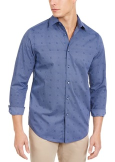 Tasso Elba Men's Stretch Geometric Tile-Print Shirt, Created for Macy's