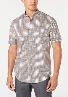 Tasso Elba Men's Stretch Herringbone Geo-Print Shirt, Created for Macy's