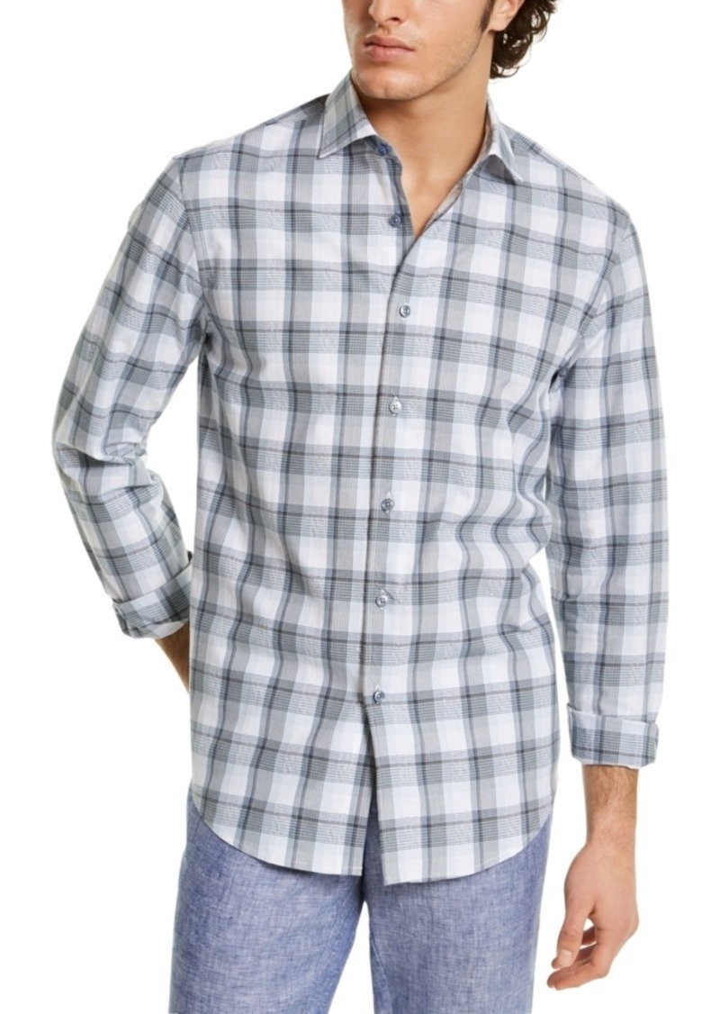 Tasso Elba Men's Stretch Plaid Boucle Shirt, Created for Macy's