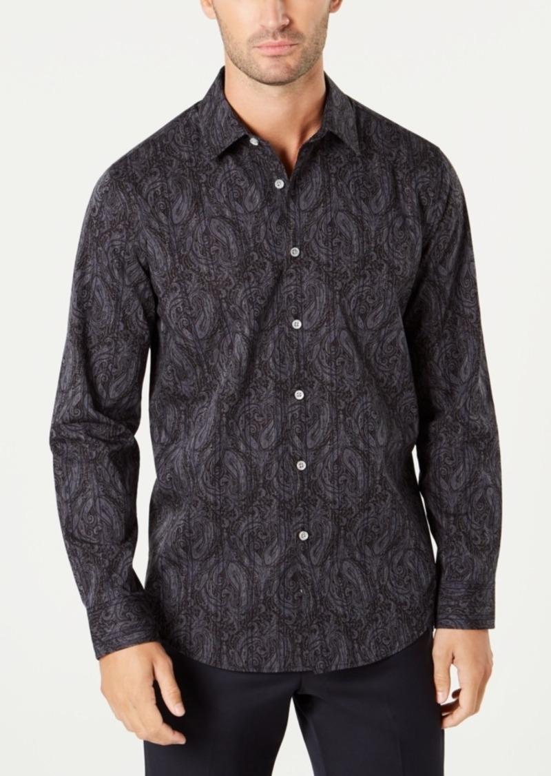 Tasso Elba Men's Stripe Paisley Shirt, Created for Macy's