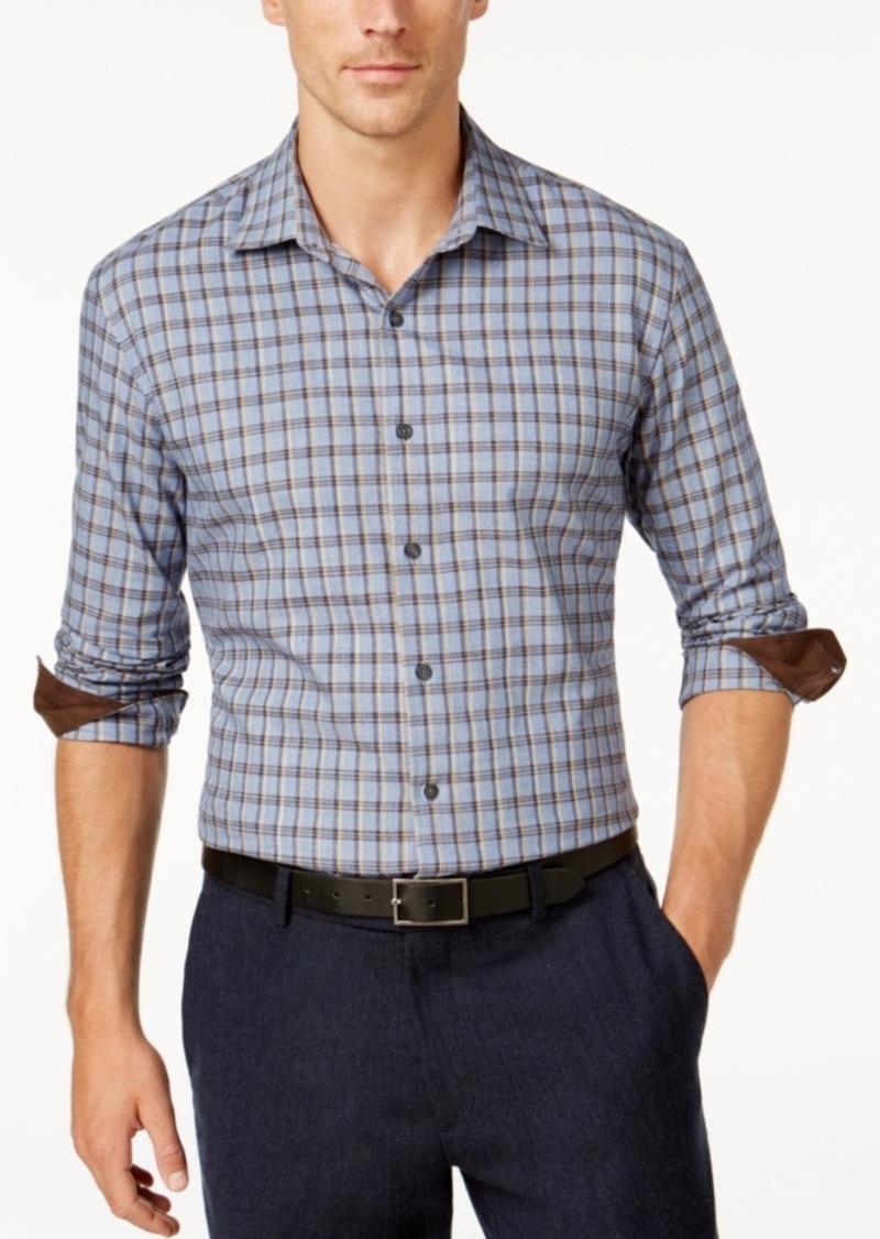 Tasso Elba Men's Suede-Cuff Long-Sleeve Shirt