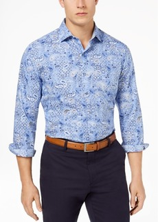 Tasso Elba Men's Supima Cotton Printed Shirt, Created for Macy's