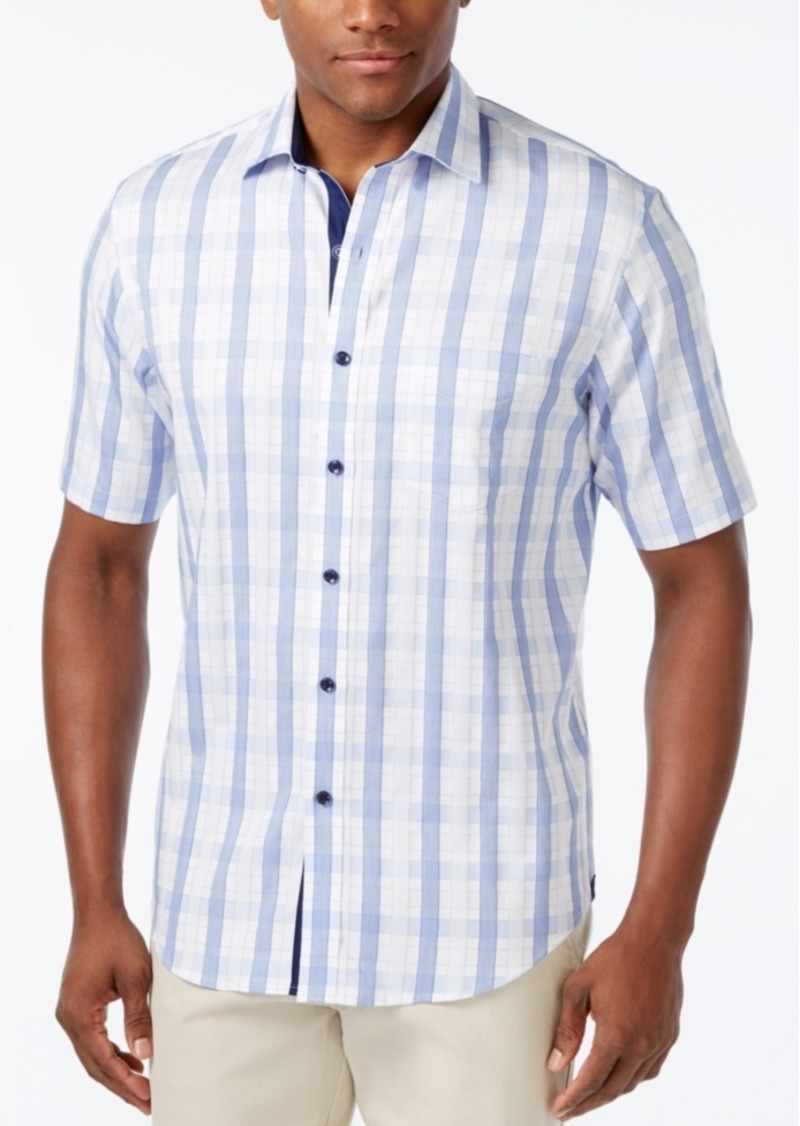 Tasso Elba Men's Plaid Short-Sleeve Shirt, Only at Macy's