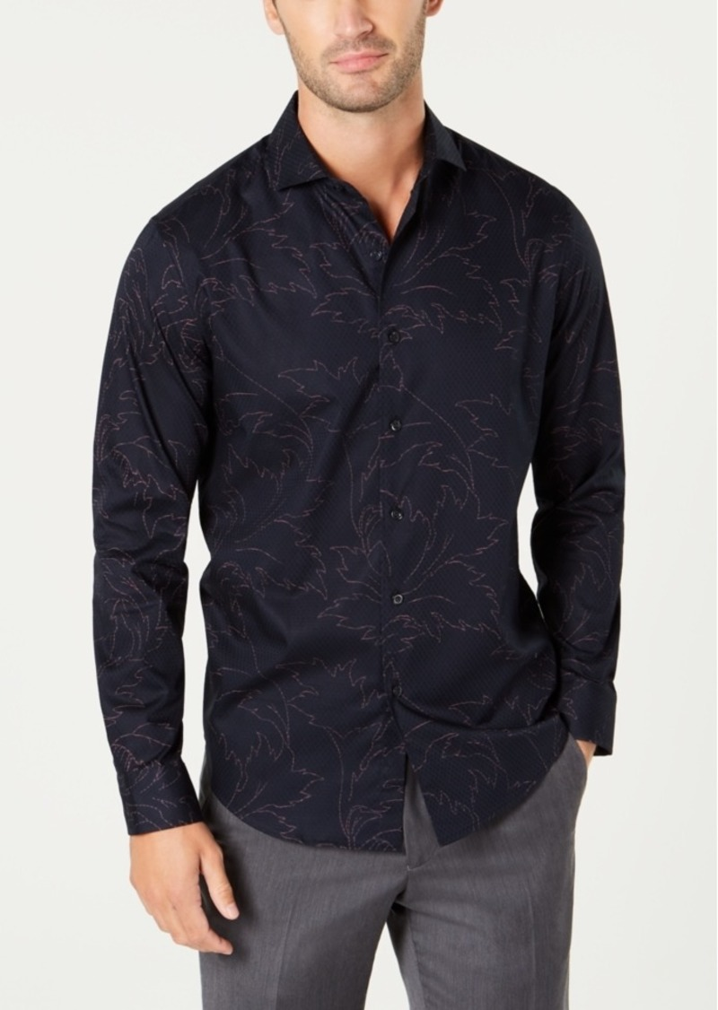 Tasso Elba Men's Textured Floral-Print Shirt, Created for Macy's