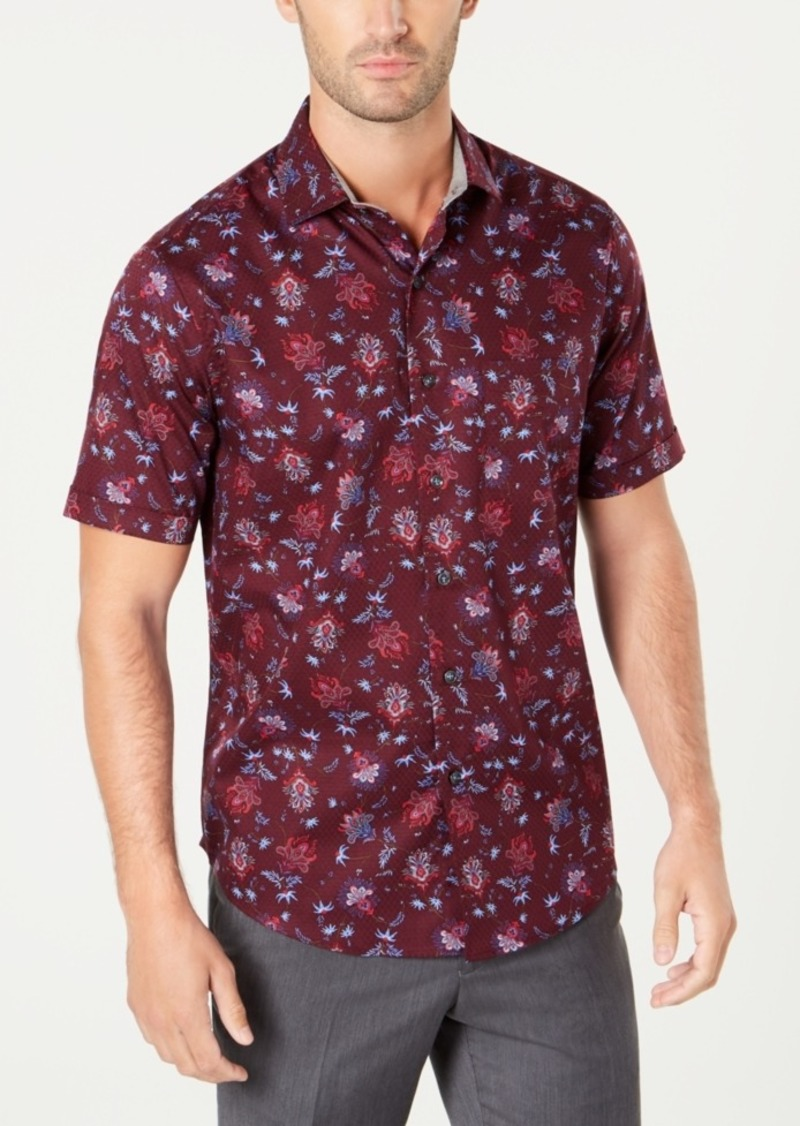 Tasso Elba Men's Textured Floral Shirt, Created for Macy's