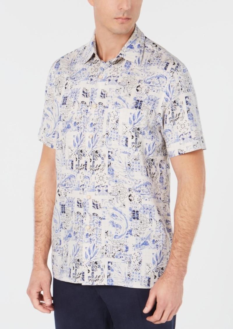 Tasso Elba Men's Tile-Print Shirt, Created for Macy's