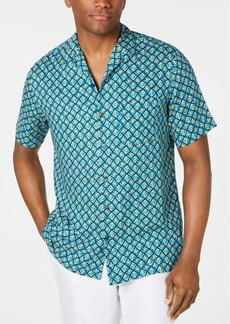 Tasso Elba Men's Tribota Geo-Print Silk Shirt, Created for Macy's