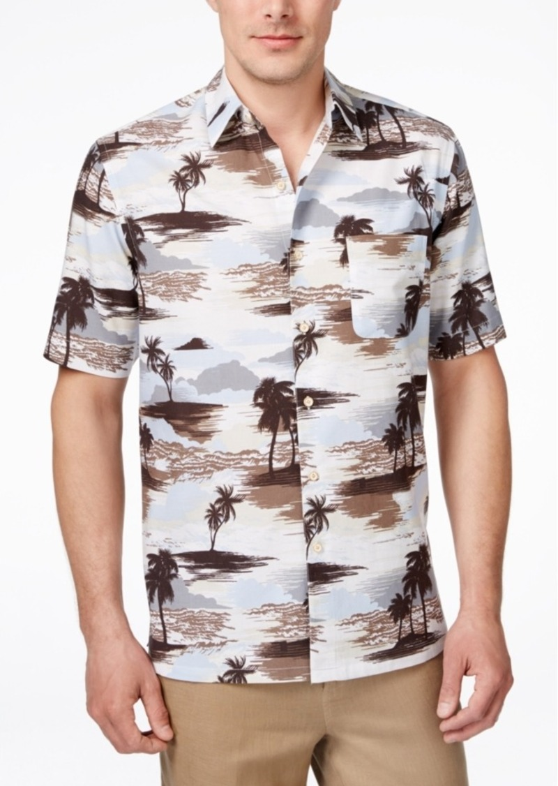 Tasso Elba Men's Tropical-Print Short-Sleeve Classic-Fit Shirt, Only at Macy's