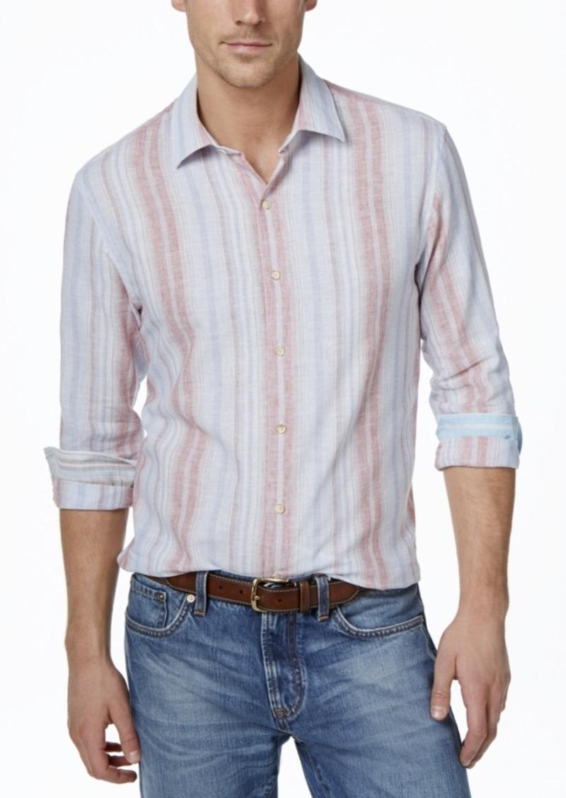 Tasso Elba Men's Big and Tall Vertical-Stripe Long-Sleeve Linen-Blend Shirt, Only at Macy's