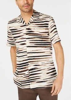 Tasso Elba Men's Zebra Graphic Camp Collar Silk Shirt, Created for Macy's
