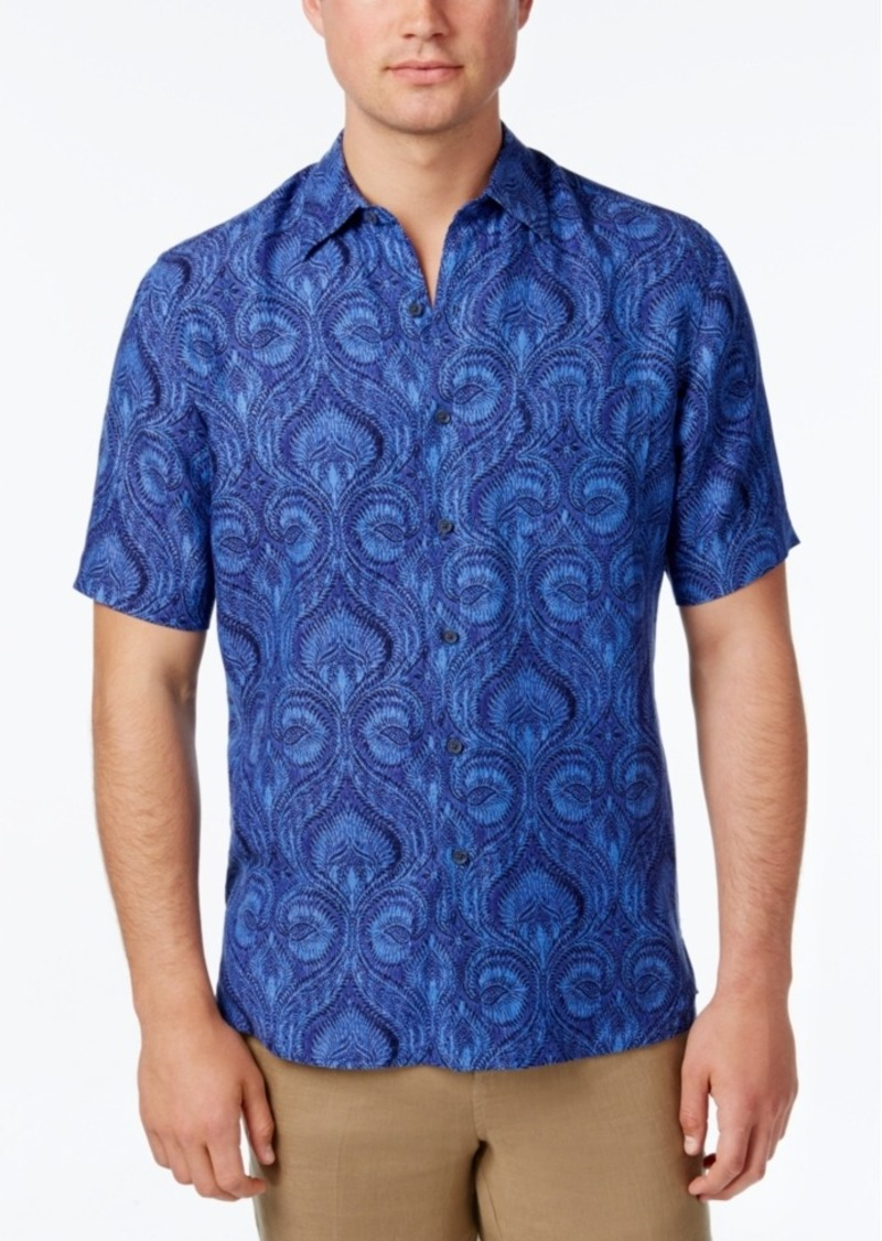 Tasso Elba Short Sleeve Silk Linen Tropical Shirt