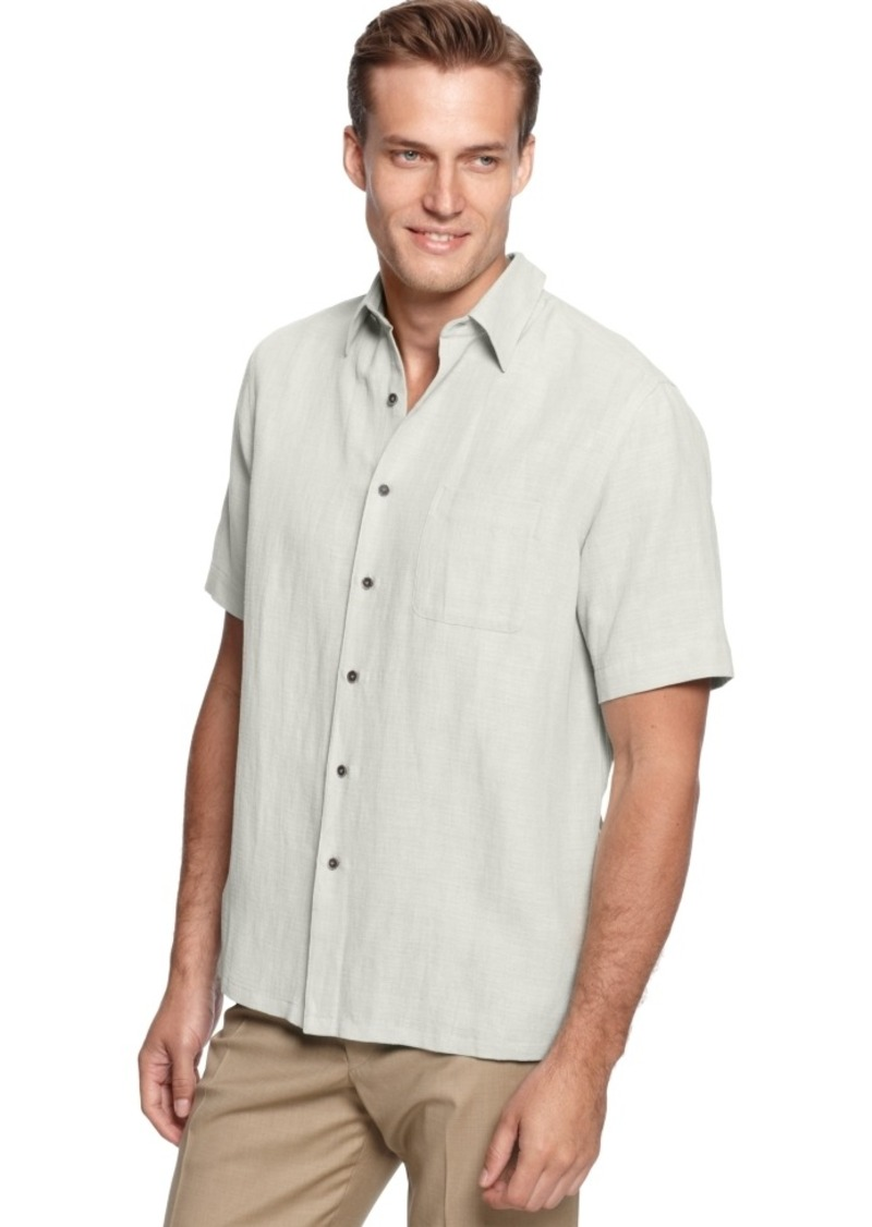 Tasso Elba Silk Linen Short Sleeve Crosshatch Shirt