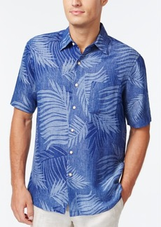 Tasso Elba Tropical Print Silk Linen Blend Short-Sleeve Shirt, Created for Macy's