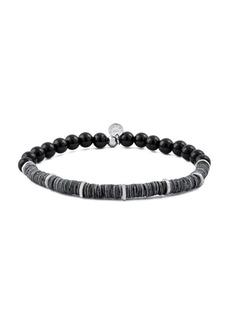 Tateossian Abyss Silver, Shell & Onyx Beaded Bracelet