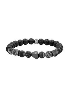 Tateossian Black Rhodium, Rainbow Jasper & Lava Bead Silver Bracelet