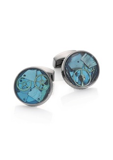Tateossian Blue Enamel Mechanical Gear Cuff Links