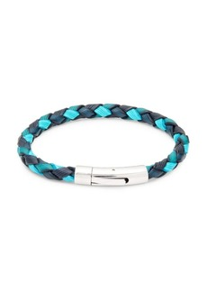 Tateossian Braided Leather & Stainless Steel Bracelet