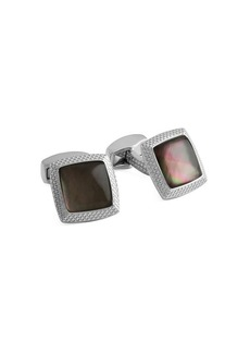 Tateossian Bullseye Black Mother-of-Pearl Square Cufflinks