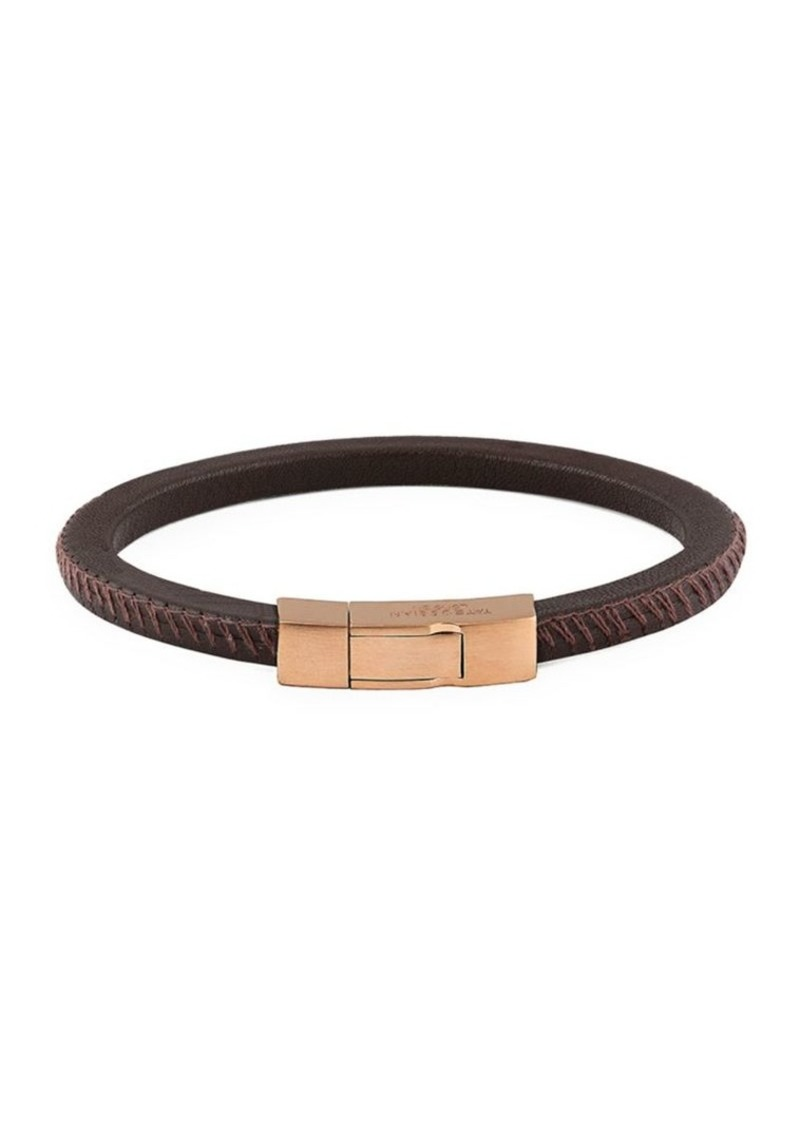 Tateossian Click Pelle Leather & Rose Goldplated Bracelet