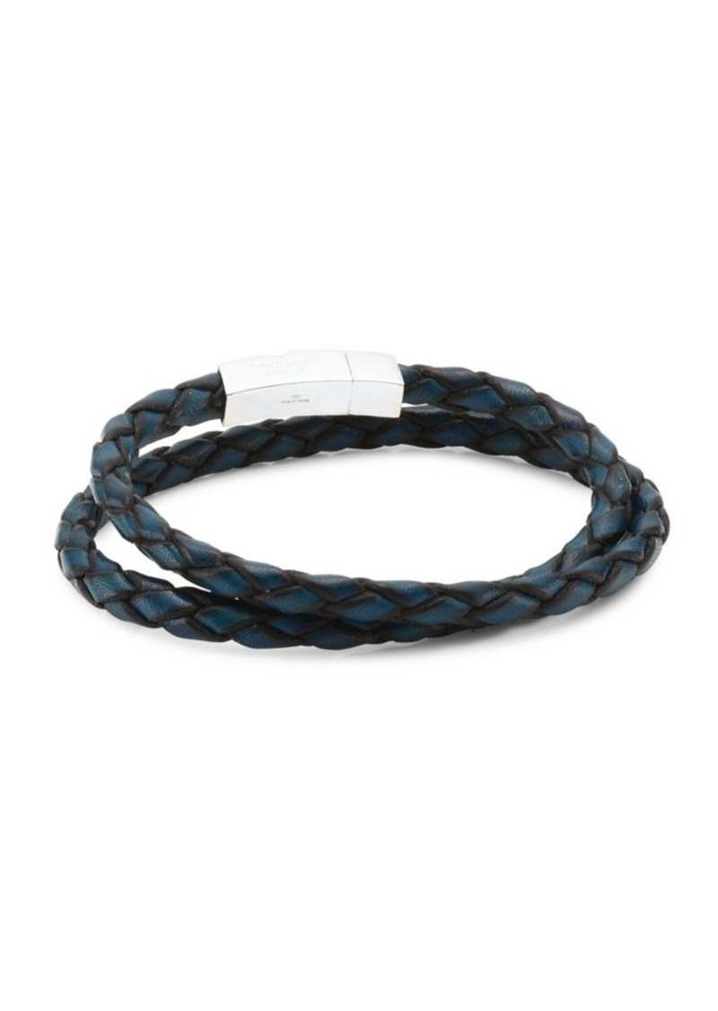 Tateossian Click Scoubidou Leather and Sterling Silver Double Wrap Bracelet