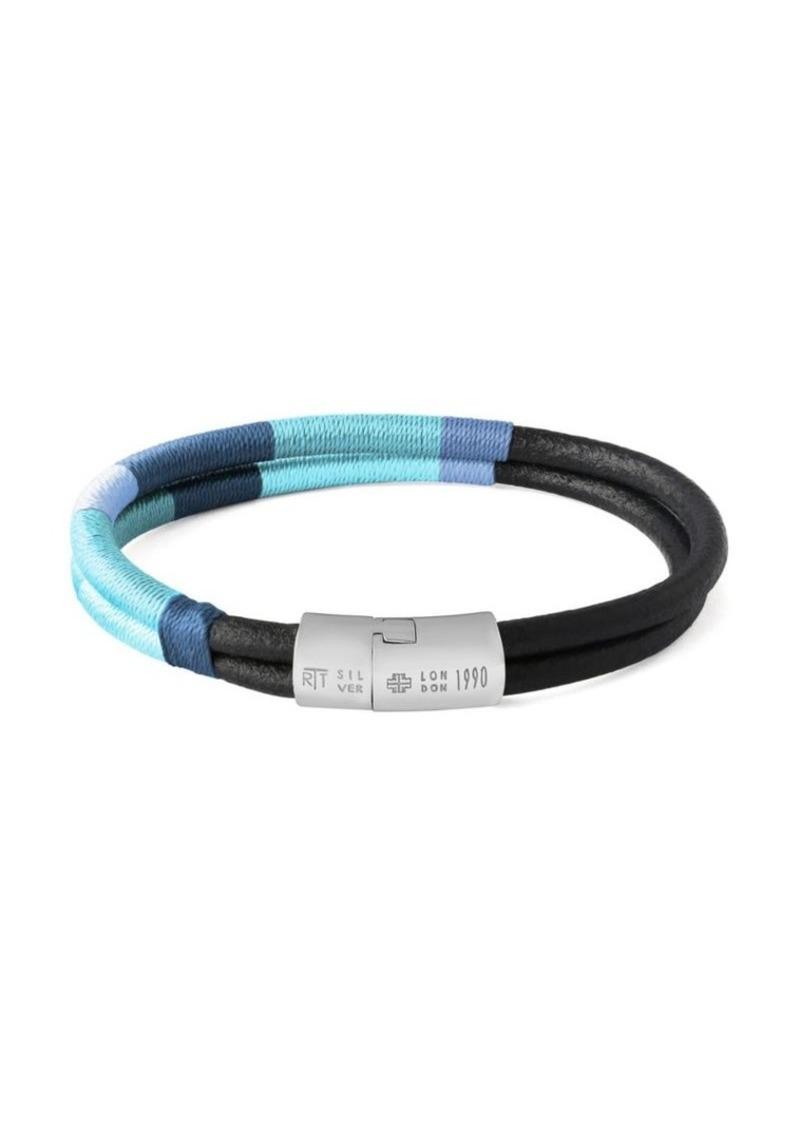 "Tateossian Cobra Masai Sterling Silver & Leather Bracelet/7.67"""