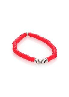 Tateossian Coral & Silver Disc Bamboo Bracelet