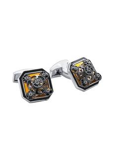 Tateossian Diablo Ottagono Gear Rhodium-Plated Cufflinks