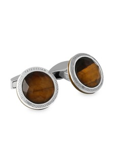 Tateossian Doppione Round Tiger's Eye & Rock Crystal Cufflinks